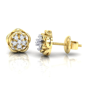 18Kt gold real diamond stud earring 53(3) by diamtrendz