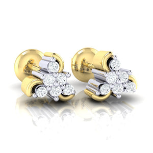 18Kt gold real diamond stud earring 55(1) by diamtrendz