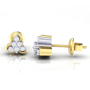 18Kt gold real diamond stud earring 55(3) by diamtrendz