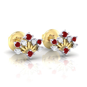 18Kt gold real diamond stud earring 56(1) by diamtrendz