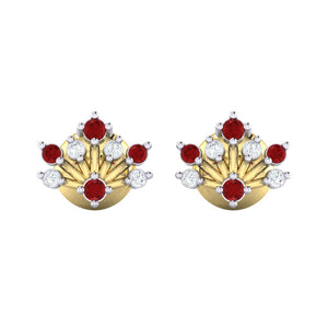 18Kt gold real diamond stud earring 56(2) by diamtrendz