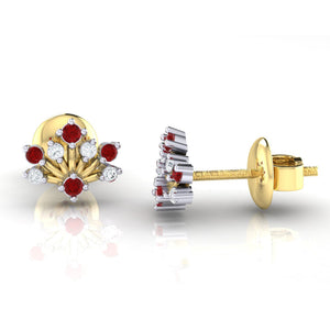 18Kt gold real diamond stud earring 56(3) by diamtrendz