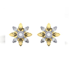 Load image into Gallery viewer, 18Kt gold floral diamond earring by diamtrendz