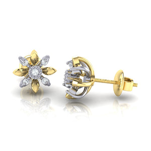 18Kt gold floral diamond earring by diamtrendz