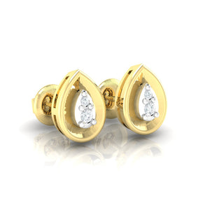 18Kt gold pear diamond earring by diamtrendz