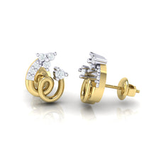 Load image into Gallery viewer, 18Kt gold spiral diamond earring by diamtrendz