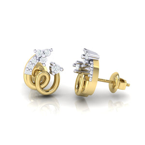 18Kt gold spiral diamond earring by diamtrendz