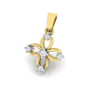 18Kt gold floral diamond pendant by diamtrendz