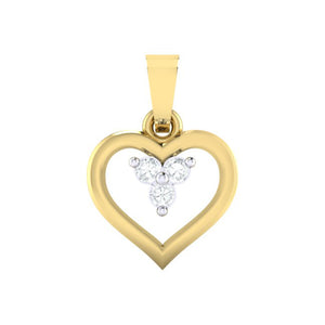 18Kt gold heart diamond pendant by diamtrendz