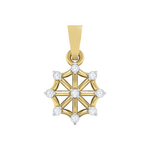 18Kt Gold Diamond Pendant - Wheel