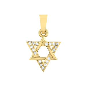 18Kt gold real diamond star shape pendant by diamtrendz