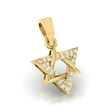 Load image into Gallery viewer, 18Kt gold real diamond star shape pendant by diamtrendz