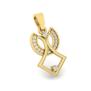 18Kt gold real diamond pendant by diamtrendz
