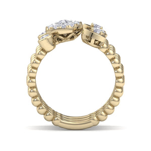 18Kt gold designer heart diamond ring by diamtrendz