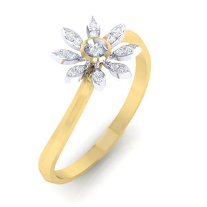 18Kt gold real diamond ring 36(1) by diamtrendz