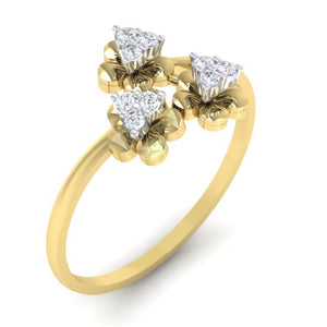 18Kt gold real diamond ring 43(1) by diamtrendz