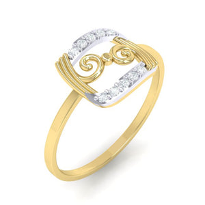 18Kt gold real diamond ring 49(1) by diamtrendz