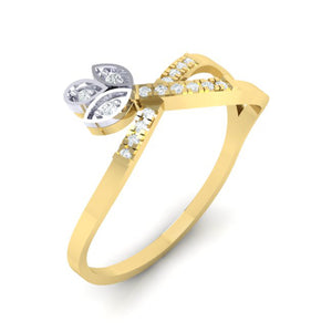 18Kt gold real diamond ring 54(1) by diamtrendz