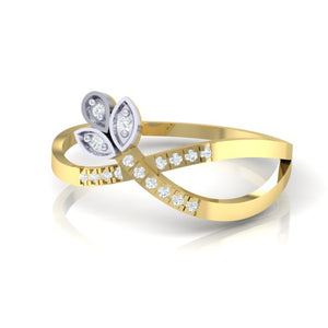 18Kt gold real diamond ring 54(3) by diamtrendz