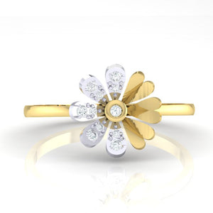 18Kt gold floral diamond ring by diamtrendz