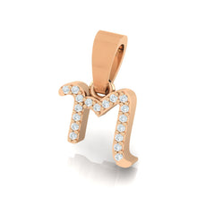 Load image into Gallery viewer, rose gold alphabet initial letter 'm' diamond pendant - 2