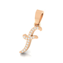 Load image into Gallery viewer, rose gold alphabet initial letter 'f' diamond pendant - 2