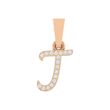 Load image into Gallery viewer, rose gold alphabet initial letter 'j' diamond pendant - 1