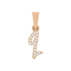 rose gold alphabet initial letter 'q' diamond pendant - 1