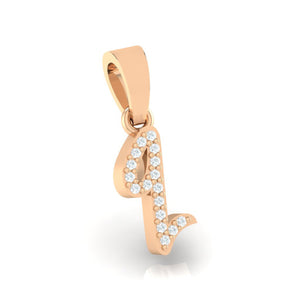 rose gold alphabet initial letter 'q' diamond pendant - 3