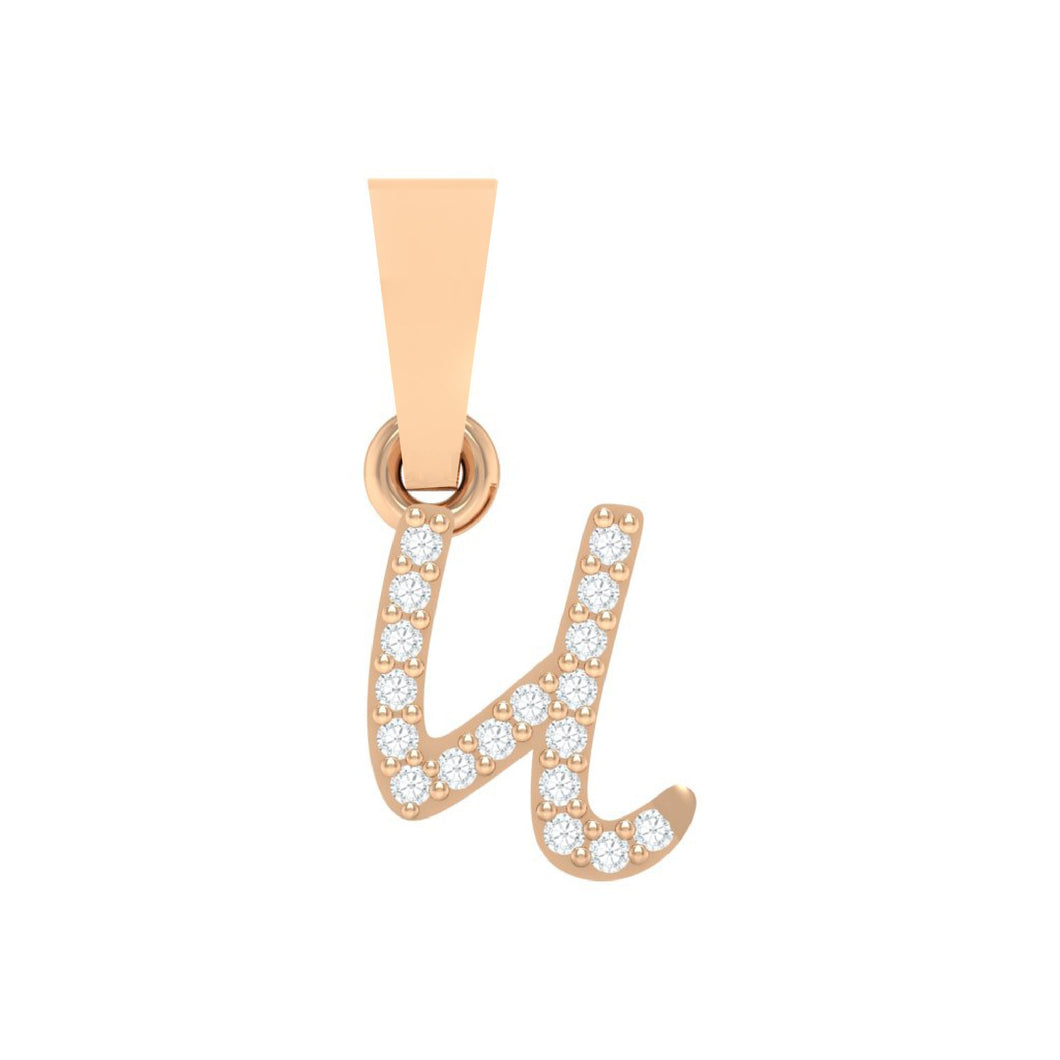rose gold alphabet initial letter 'u' diamond pendant - 1