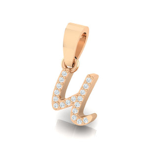 rose gold alphabet initial letter 'u' diamond pendant - 2