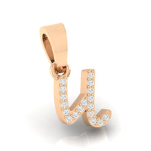Load image into Gallery viewer, rose gold alphabet initial letter 'u' diamond pendant - 3