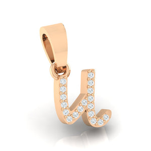 rose gold alphabet initial letter 'u' diamond pendant - 3