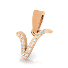 Load image into Gallery viewer, rose gold alphabet initial letter 'v' diamond pendant - 2