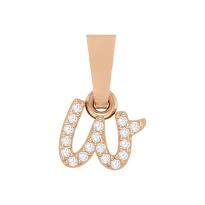 rose gold alphabet initial letter 'w' diamond pendant - 1