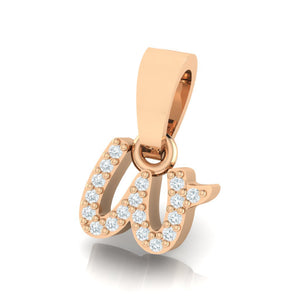 rose gold alphabet initial letter 'w' diamond pendant - 2