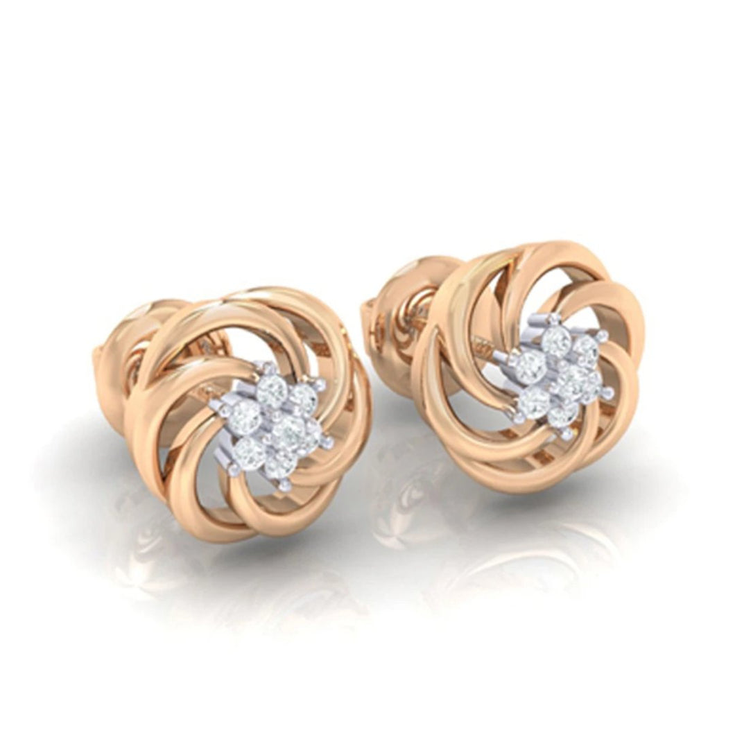 18Kt rose gold real diamond earring 10(1) by diamtrendz