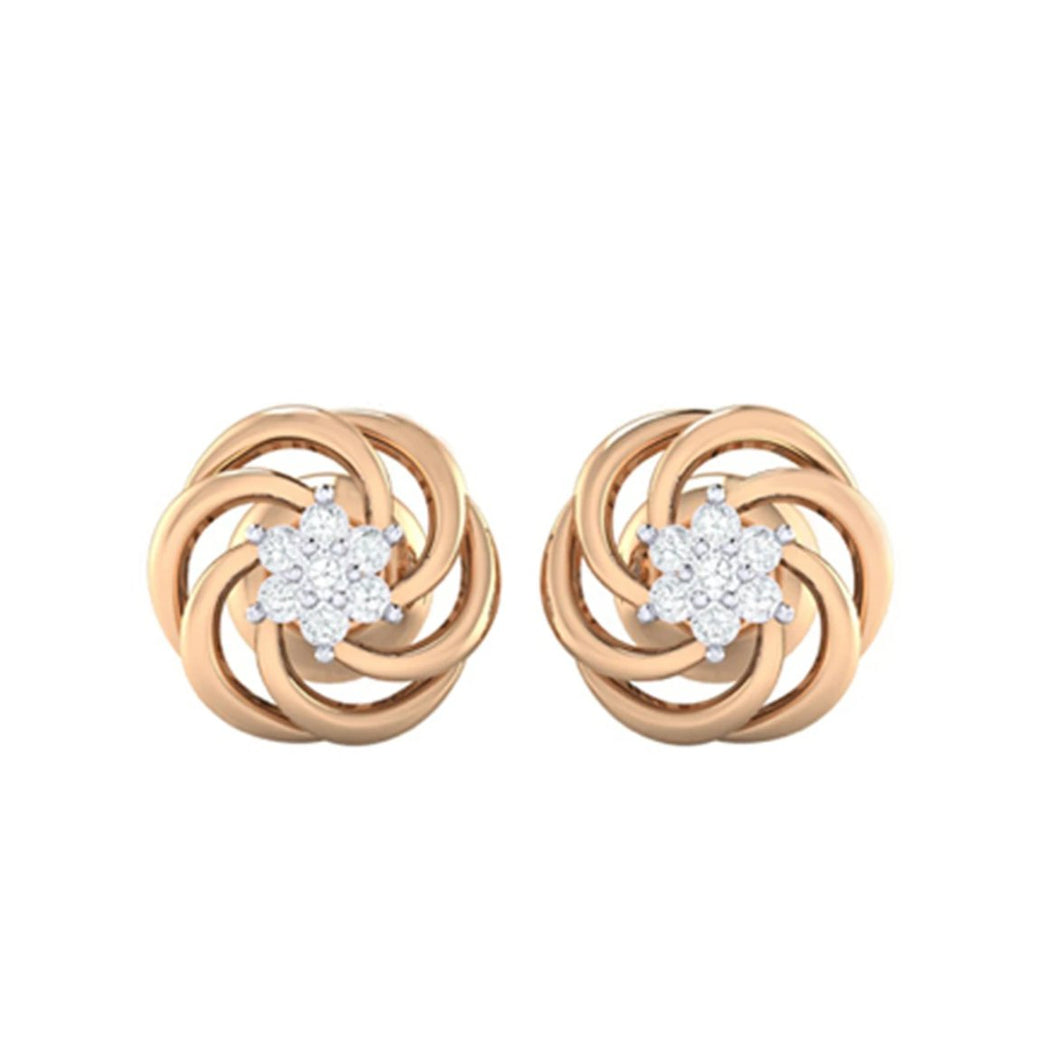 18Kt rose gold real diamond earring 10(2) by diamtrendz