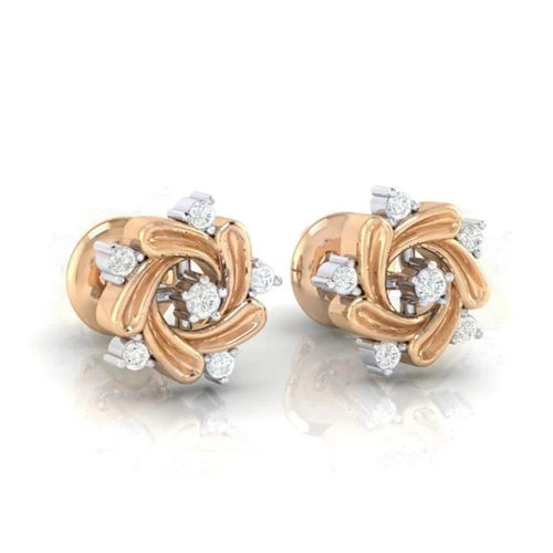 18Kt rose gold real diamond earring 11(1) by diamtrendz