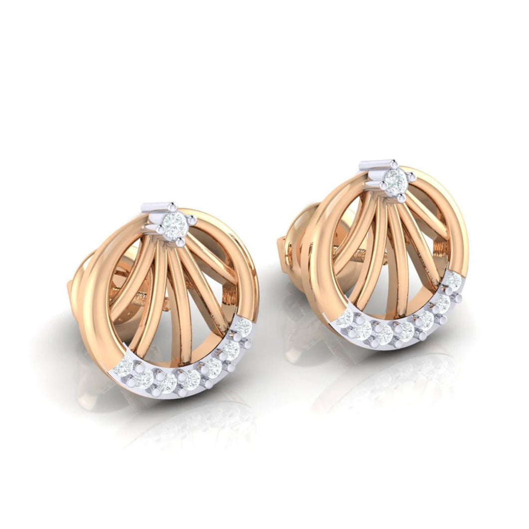 18Kt rose gold real diamond earring 13(1) by diamtrendz