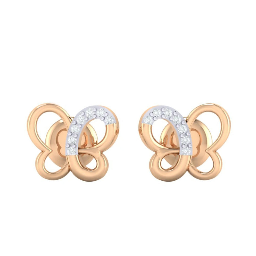 18Kt rose gold real diamond earring 14(2) by diamtrendz