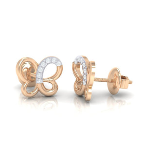 18Kt rose gold real diamond earring 14(3) by diamtrendz