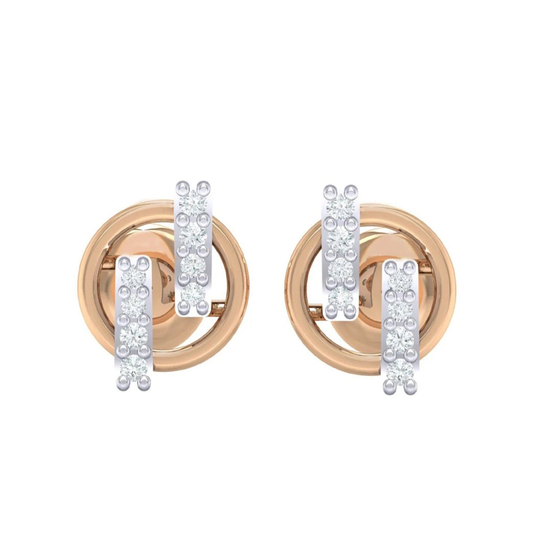 18Kt rose gold real diamond earring 15(2) by diamtrendz