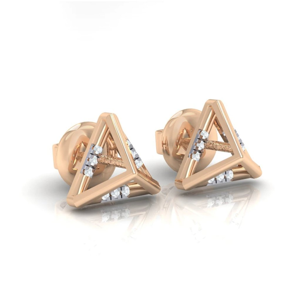 18Kt rose gold real diamond earring 18(1) by diamtrendz