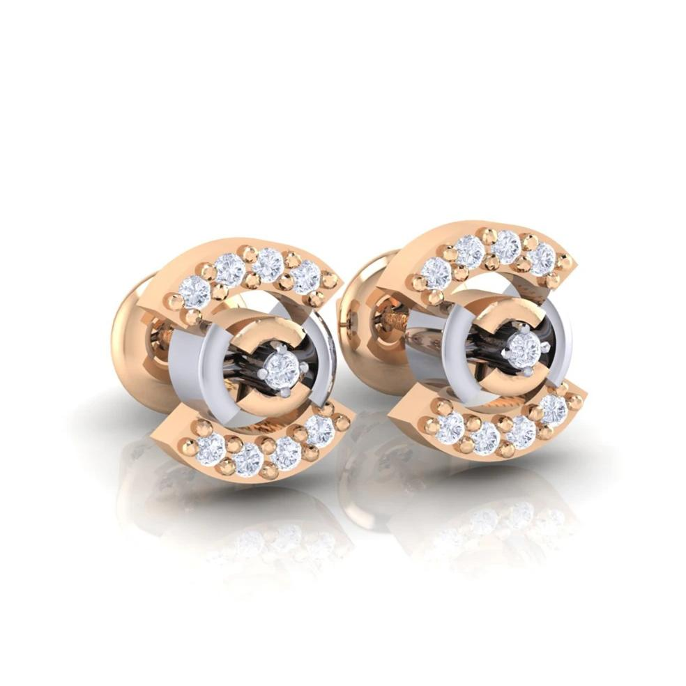 18Kt rose gold real diamond earring 21(1) by diamtrendz