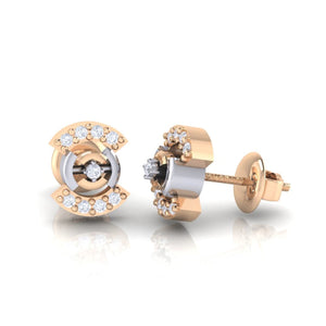18Kt rose gold real diamond earring 21(3) by diamtrendz