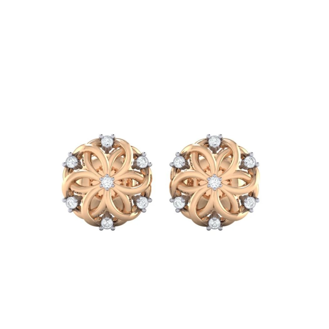 18Kt rose gold real diamond earring 22(2) by diamtrendz