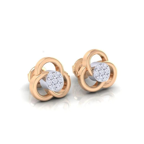 18Kt rose gold real diamond earring 23(1) by diamtrendz