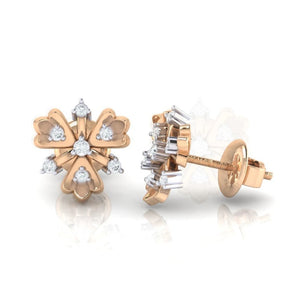 18Kt rose gold real diamond earring 26(3) by diamtrendz