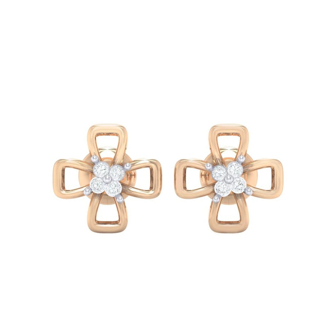 18Kt rose gold real diamond earring 27(2) by diamtrendz
